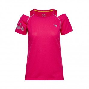 DIADORA MANCHES COURTES L. BRIGHT SUN LOCK T-SHIRT FEMME | RED VIRTUAL PINK | Collection Printemps-Été 2019