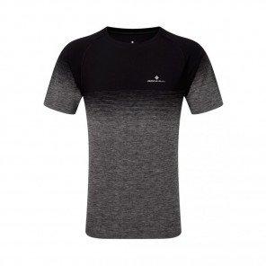 RONHILL Tee-Shirt manches courtes MARATHON INFINITY Homme | Black/Grey Marl | Collection Printemps-Été 2019
